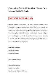 caterpillar cat 416 e backhoe loader parts manual download