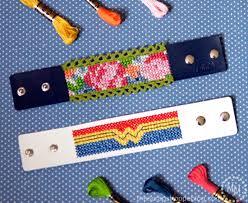 bracelet patterns leather images Cross stitch leather cuffs free patterns the scrap shoppe jpg