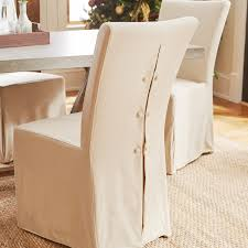 Slipcovered Parsons Dining Chairs Features Set Of Two Chairs Casual Style Curved Back Frame