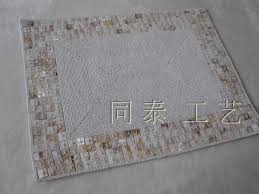Beaded Table Linens - rectangle white beaded four lines natural shell placemat table