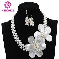 flower necklace set images Charming white freshwater pearl shell flower necklace jewelry set jpg