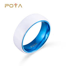 ceramic wedding bands 8mm white ceramic wedding band ring with anodic oxidatio blue