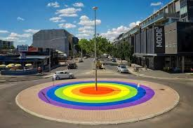 canberra u0027s rainbow roundabout marks marriage vote