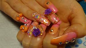pink u0026 orange ombre acrylic nails naio colours youtube