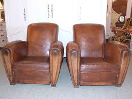 Vintage Leather Club Chair F350 Pair Of Vintage French Leather Club Chairs La Belle étoffe