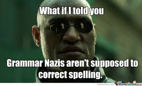 Spelling Meme - grammar nazis are for grammar not for spelling by tophat british
