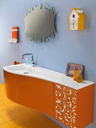 orange colored vanity with soft blue wall color for small bathroom
