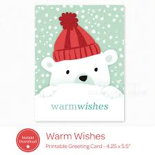 warmest wishes photo card printable card instant polar christmas