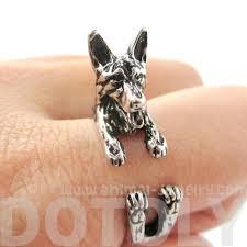 german shepherd shaped animal wrap ring in shiny silver dotoly 3d german shepherd shaped animal wrap ring in shiny silver sizes 4 to 8 5