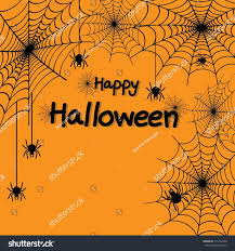 happy halloween spider web spiders greeting stock vector 713104960