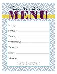 weekly menu templates free free printable menu smitten designs