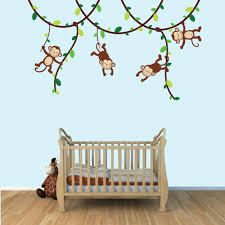 Wall Nursery Decals Green And Brown Monkey Wall Decal For Baby Nursery Or