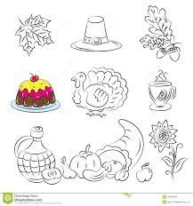 thanksgiving sketch set stock images image 16838184