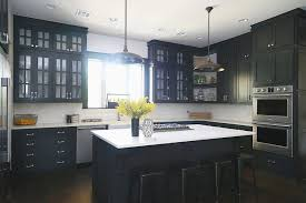 White Kitchen Black Island White Island With Black Vintage Pendants Transitional Kitchen