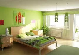 minimalist design room painted with green with green hang lamp and