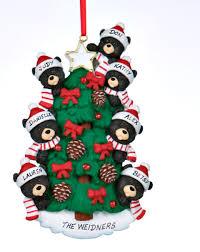 black bear tree family 7 personalized ornament