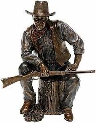 bronze cowboy wayne ornament resin screen legend crafted