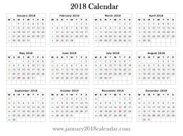 printable calendar 2018 yearly download january blank template