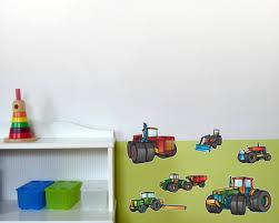 kinderzimmer wandsticker 13 teiliges trecker traktor und fahrzeug set wandtattoo