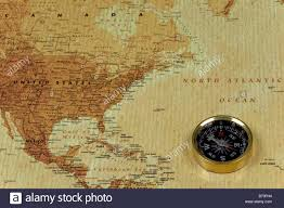 United States Map With Oceans by A Brss Compass On An Old Map Showing The North Atlantic Ocean And