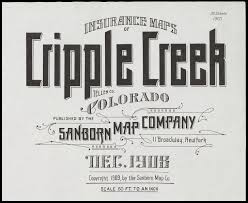 Cripple Creek Colorado Map by Bibliodyssey Sanborn Fire Insurance Map Typography