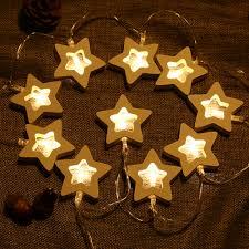 aliexpress com buy 10 leds warm white wooden star led string