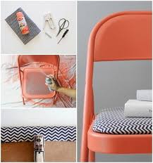 Metal Folding Chair Covers An Easy Way To Revamp Any Tired Old Chair Diy Chevron Orange