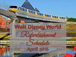 walt disney world refurbishment schedule update for april 2016