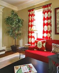 red living room design ideas red and white curtains for living
