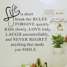 life short words removable wall sticker murals home room decor