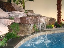 in door water falls with natural seamless stone wall waterfall at