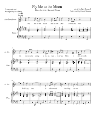 fly me to the moon alto saxophone piano duet sheet for