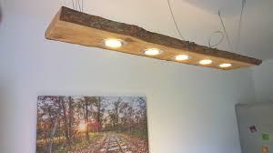 Wohnzimmer Lampe Anleitung Details Zu Led Decken Holz Lampe Rustikal 120cm 5x 7w Massivholz