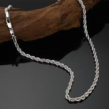 rope chain necklace men images Men 39 s solid 18ct white gold filled rope chain necklace 24 quot x4mm jpg