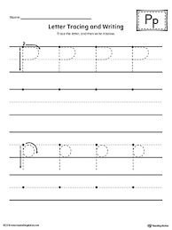 letter p tracing and writing printable worksheet
