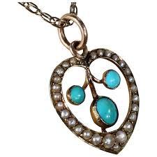 antique necklace pendant images Antique edwardian turquoise pearl heart pendant necklace jpg