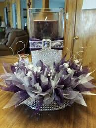 Black And Silver Centerpieces by Glamorous Purple Wedding Ideas Purple Wedding Floral Designs
