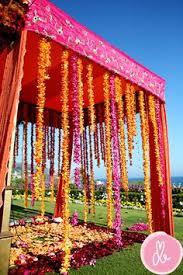 Colourful Ribbon Canopy Wedding Reception by Mandap Chuppah Indian Wedding Decor Wedding Design Wedding