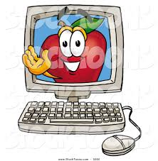 Apple Computer Desk Top by Stock Cartoon Of A Grinning Happy Red Apple Character Mascot On A