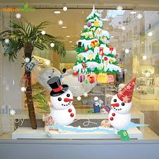 tree snowman new year shop window wall sticker