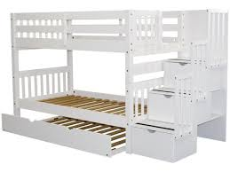 Bunk Bed With Trundle Bunk Beds Stairway White Trundle 689 Bunk Bed King