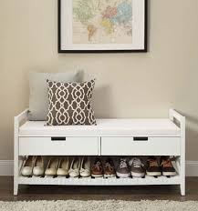 Shoerack Bench Wood Corner Wall Shoe Rack Bench With Storage Drawer And Cushion