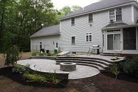 Backyard Patios With Fire Pits by New Hampshire Landscaper Backyard Stone Patio U0026 Fire Pit