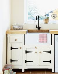 create pretty country style with a series of cupboards and drawers