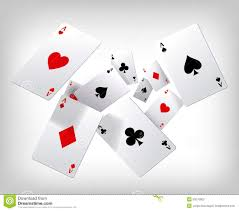 Playing Card Design Template Playing Cards Poker Aces Flying On Gray Background Poster