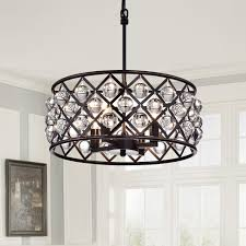 Decorative Chandelier Ceiling Plate Five Light Chrome Clear Crystals Glass Drum Shade Pendant