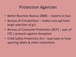 consumer bureau protection agency consumer protection agencies ppt