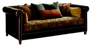 Leather And Upholstered Sofa Leather And Fabric Combination Sofa Mixing Leather Furniture