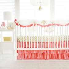 gold and coral crib rail cover set gold crib bedding