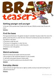 53 free esl brainteasers worksheets